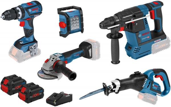 Bosch Geräte-Set GSB + GWS + GBH + GSA + GLI + Zubehör (0615990L52)