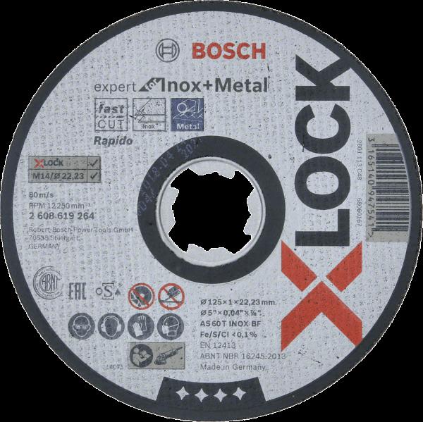 5 Stück Bosch X-LOCK Expert for Inox+Metal 125 x 1 x 22,23 Trennscheibe gerade (2608619264)